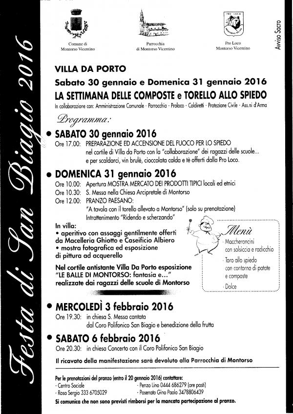 Festa di San Biagio 2016, ecco il programma